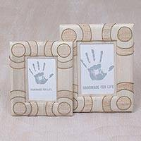Natural fiber photo frames, 'Circle of Memories in Beige' (4x6 and 3x5) - 4x6 and 3x5 Natural Fiber Indonesian Photo Frames in Beige