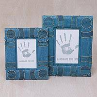 Natural fiber photo frames, 'Circle of Memories in Blue' (4x6 and 3x5) - 4x6 and 3x5 Indonesian Natural Fiber Photo Frames in Blue