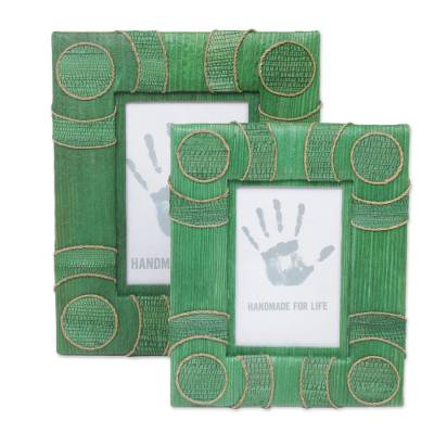 4x6 and 3x5 Natural Fiber Indonesian Photo Frames in Green