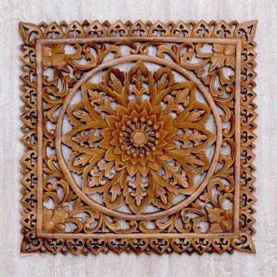 Wood relief panel, 'Floral Shrine' - Hand Carved Suar Wood Floral Wall Relief Panel from Bali