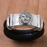 Sterling silver and rubber band ring, 'Buddha's Truth' - Buddha Face on 925 Sterling Silver and Natural Rubber Ring