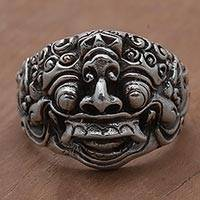 Men's sterling silver ring, 'The Raksasa' - Sterling Silver Men's Ring by Balinese Artisans