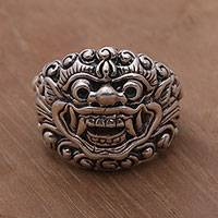 Men's sterling silver ring, 'Barong Blessing' - Sterling Silver Men's Barong Band Ring from Bali