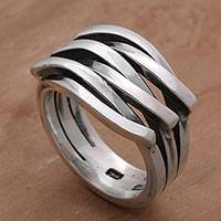Men's sterling silver ring, 'Interlocked' - Sterling Silver Men's Modern Band Ring from Bali