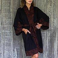 Short rayon robe, 'Bewitching Blossom' - Indonesian Floral Batik Printed Black and Cocoa Short Robe