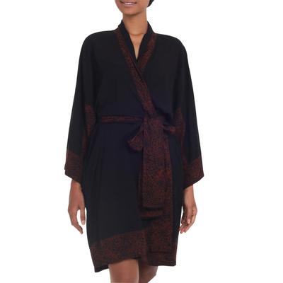 Indonesian Floral Batik Printed Black and Cocoa Short Robe