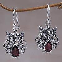 Garnet dangle earrings, 'Owl's Tears' - Garnet and Sterling Silver Owl Earrings from Indonesia