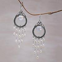 Cultured pearl and rainbow moonstone chandelier earrings, 'Angel Tears' - Indonesian Pearl Rainbow Moonstone Chandelier Earrings