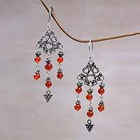 Carnelian chandelier earrings, 'Amlapura Altar' - Indonesian Handmade Sterling Silver and Carnelian Earrings