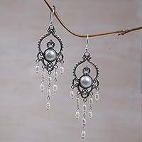 Cultured pearl chandelier earrings, 'Drops of Dew' - Cultured Pearl and 925 Silver Chandelier Earrings from Bali