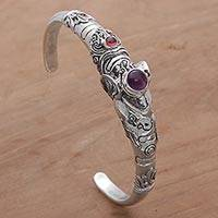 Amethyst and garnet cuff bracelet, 'Tapir Tale' - Amethyst and Garnet Tapir Cuff Bracelet from Indonesia