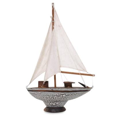 Wood sculpture, 'Paradise Cutter' - Artisan Crafted Wood Sculpture of Cutter Sailboat from Bali