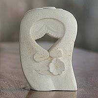 Sandstone sculpture, 'Flower Kisses' - Sandstone Sculpture of a Couple Kissing from Indonesia