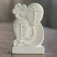 Sandstone sculpture, 'Bali Couple' - Hand Crafted Indonesian Sandstone Sculpture of Floral Faces