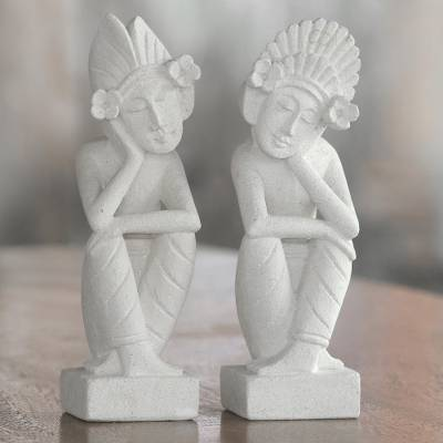 Sandstone sculptures, 'Jegeg and Bagus' (pair) - Pair of Hand Carved Sandstone Sculptures from Indonesia