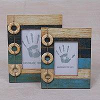 Wood photo frames, 'Floating Memories' (4x6 and 3x5) - 4x6 and 3x5 Albesia Wood Indonesian Nautical Photo Frames