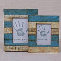 Wood photo frames, 'Sea Stripes' (4x6 and 3x5) - 4x6 and 3x5 Albesia Wood Beige Blue Striped Photo Frames