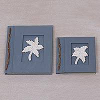 Wood-accented photo albums, 'Maple Dreams in Blue-Grey' (pair) - Two Albesia Wood Indonesian Leaf Photo Albums in Blue-Grey