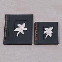 Wood-accented photo albums, 'Maple Dreams in Black' (pair) - Two Albesia Wood Indonesian Leaf Photo Albums in Black