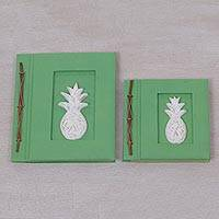 Wood-accented photo albums, 'Pineapple Dreams in Green' (pair) - Two Albesia Wood Indonesian Pineapple Photo Albums in Green