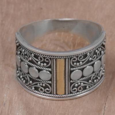 Silver beaded jewelry - Gold Accent Sterling Silver Band Ring with Spiral Motifs