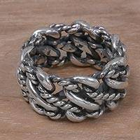 Sterling silver band ring, 'Roped by Love' - 925 Sterling Silver Rope Motif Band Ring from Indonesia