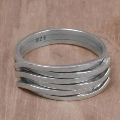 criss cross ring multi color - 925 Sterling Silver Interwoven Band Ring from Indonesia