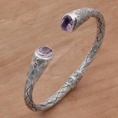 Gold accent amethyst cuff bracelet, 'Bamboo Wicker' - Gold Accent Amethyst and Silver Cuff Bracelet from Indonesia