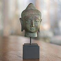 Bronze statuette, 'Head of Siddhartha' - Bronze Statuette of Buddha's Head with Wood Base from Bali