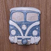Wood wall hook, 'Hippie Ride' - Handcrafted Beach Chic Hippie Bus Wall Hook from Bali