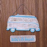 Wood wall art, 'Life's a Beach' - Handcrafted Hanging Wood Beach Vibe Wall Sign from Bali
