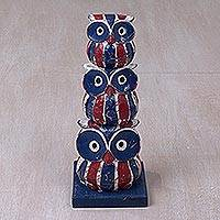 Wood sculpture, 'Owl Brood' - Rustic Handcrafted Owl Family Wood Sculpture from Bali