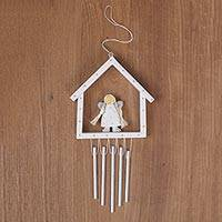 Wood wind chime ornament, 'Angel House' - Hand Crafted Wood and Aluminum Angel Wind Chime Ornament