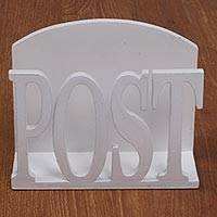 Wood letter holder, 'Post Service' - Handcrafted White Wood Desktop Letter Holder from Bali