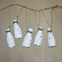 Wood hanging decor, 'Dangling Bottles' - Hand Crafted Wood Hanging Decor of 5 Weathered White Bottle