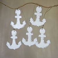 Wood hanging decor, 'White Nautical Anchors' - Hand Crafted Wall Home Decor of 5 White Anchors from Bali