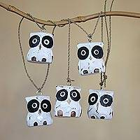 Wood hanging accessory, 'Dangling Owls' - Distressed Indonesian Albesia Wood Owl Wall Decor Accessory