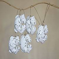 Wood hanging accessory, 'White Crabs' - White Crabs Indonesian Artisan Crafted Wall Wood Decor