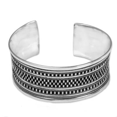Sterling Silver Cuff Bracelet with Dot Motifs from Indonesia
