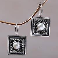 Cultured mabe pearl drop earrings, 'Moonlight Frames' - Indonesian Mabe Pearl and Sterling Silver Square Earrings