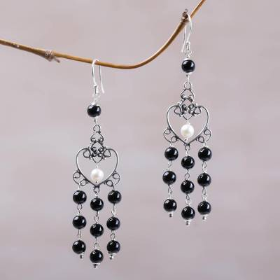 Onyx and cultured pearl chandelier earrings, 'Purified Love' - Onyx and Cultured Pearl Heart-Shaped Earrings from Bali