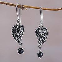 Onyx dangle earrings, 'Love Leaf' - Sterling Silver and Onyx Leaf Dangle Earrings from Bali