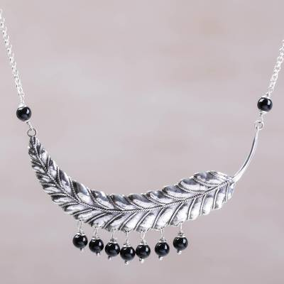 Onyx pendant necklace, 'Dusky Dew' - Sterling Silver and Onyx Leaf Pendant Necklace from Bali