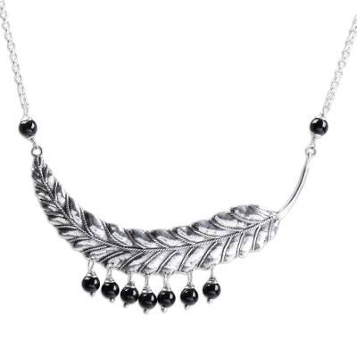 Sterling Silver and Onyx Leaf Pendant Necklace from Bali