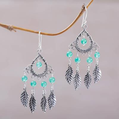 Agate chandelier earrings, 'Garden Leaves' - Sterling Silver and Agate Leaf Chandelier Earrings from Bali