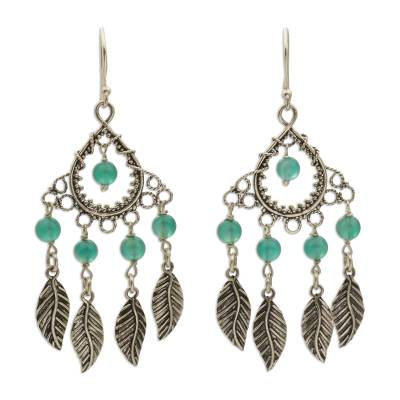 Sterling Silver and Agate Leaf Chandelier Earrings from Bali
