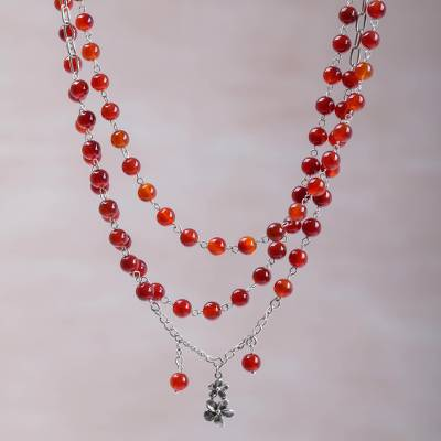 Carnelian strand necklace, 'Jepun Queen' - Floral Carnelian and Sterling Silver Link Bracelet from Bali