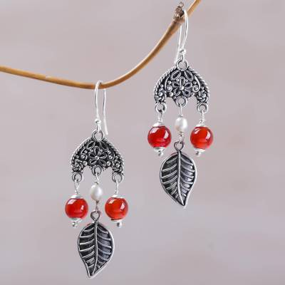 Carnelian and cultured pearl chandelier earrings, Patio Leaves