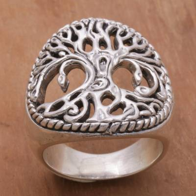ring definition space - Sterling Silver Tree Cocktail Ring by Balinese Artisans