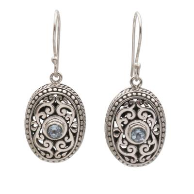 Blue Topaz and Sterling Silver Oval Balinese Dangle Earrings